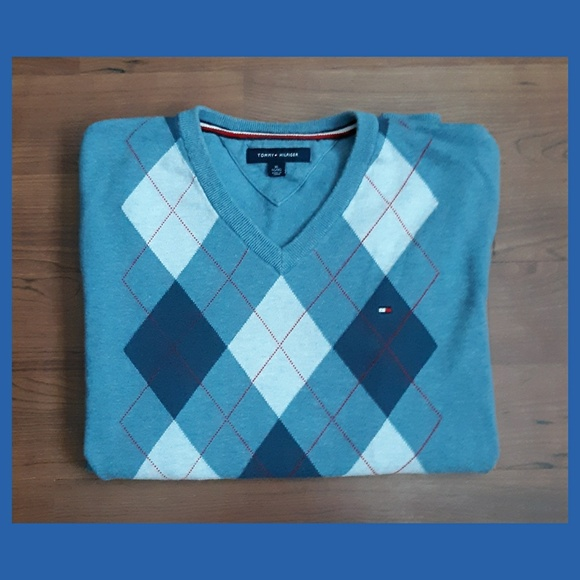 Tommy Hilfiger Other - Tommy Hilfiger Blue Argyle Sweater